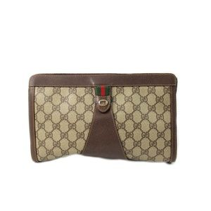 Vintage Gucci GG Monogram Clutch Bag Brown Purse